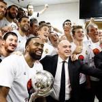 Así celebró el Real Madrid la liga 32ª en el vestuario del Palau