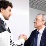 Florentino Pérez saludó a los jugadores ante del debut ante Unicaja