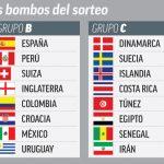 Las 32 selecciones del mundial divididos en cuatro bombos. España estará en el bombo 2 y no será cabeza de serie.