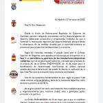 El presidente de la RFEK solicita al CSD la ampliación del aforo de recintos deportivos de un 30% a un 50%